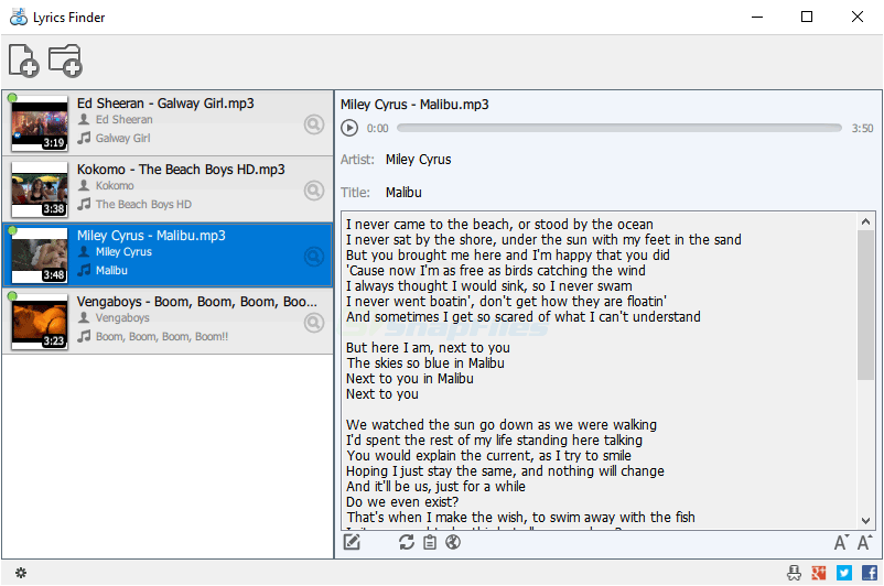 screen capture of MediaHuman Lyrics Finder