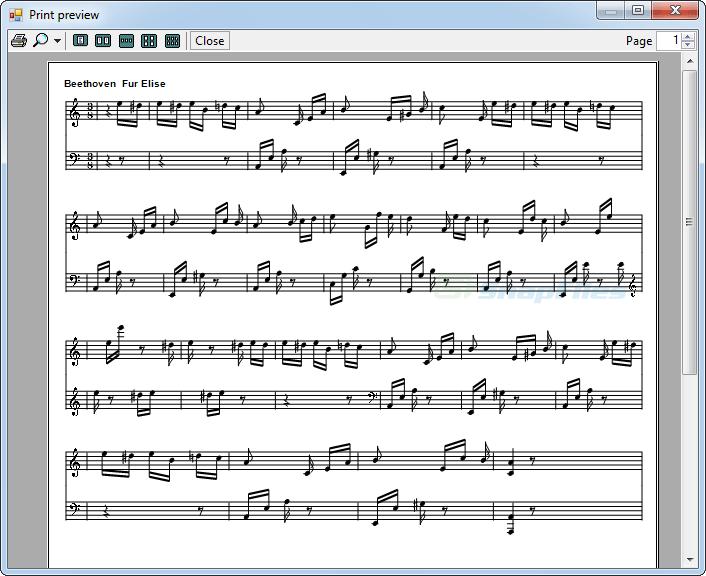 screenshot of Midi Sheet Music