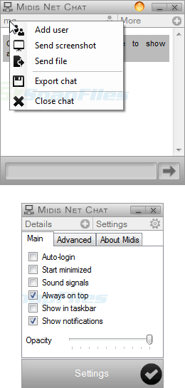 screenshot of Midis Net Chat