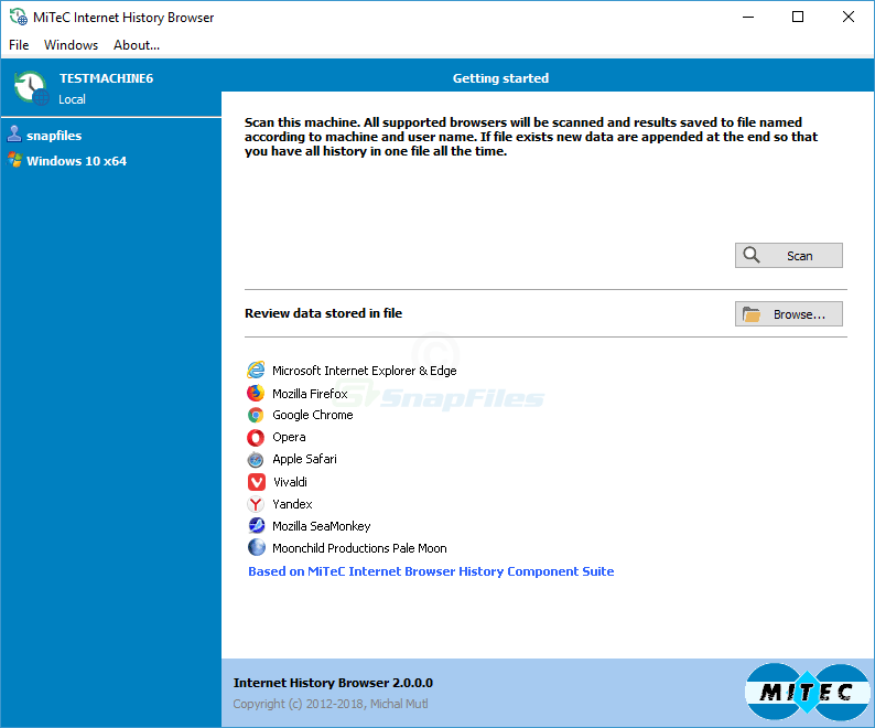 screen capture of MiTeC Internet History Browser