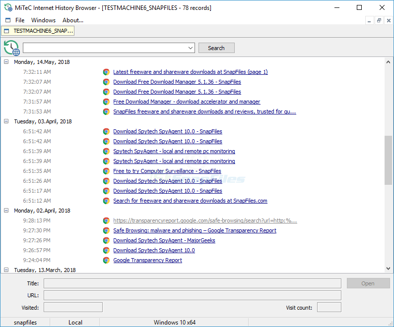 screenshot of MiTeC Internet History Browser