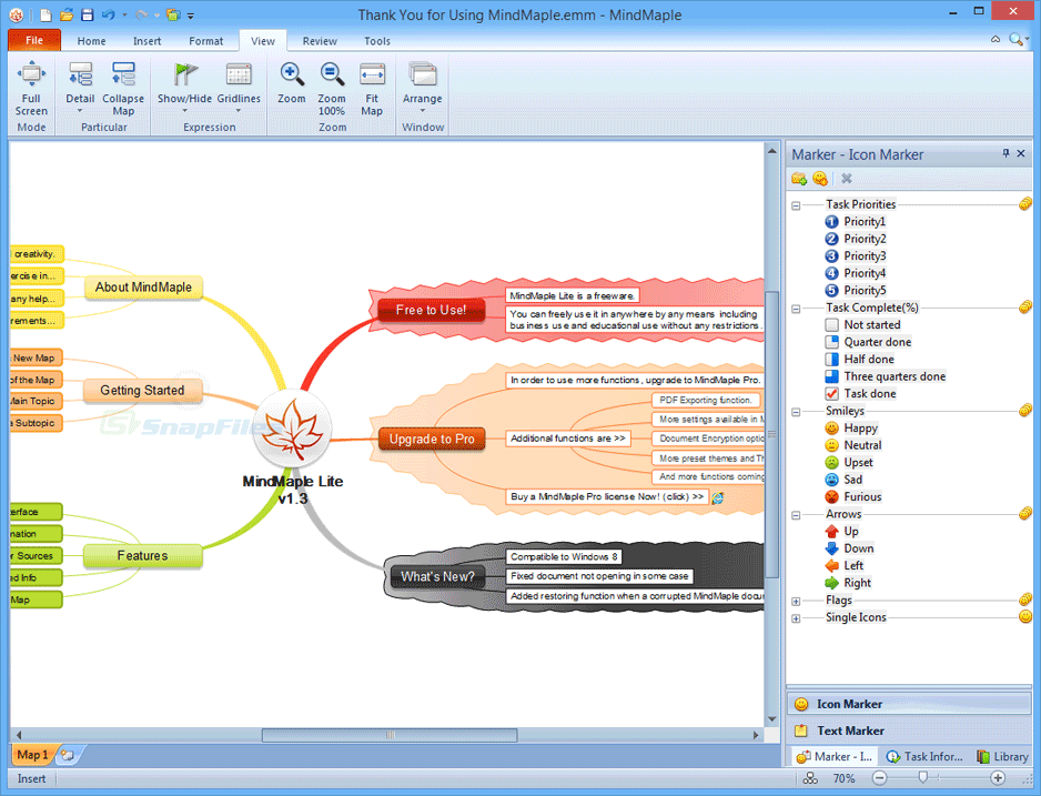 screen capture of MindMaple Lite