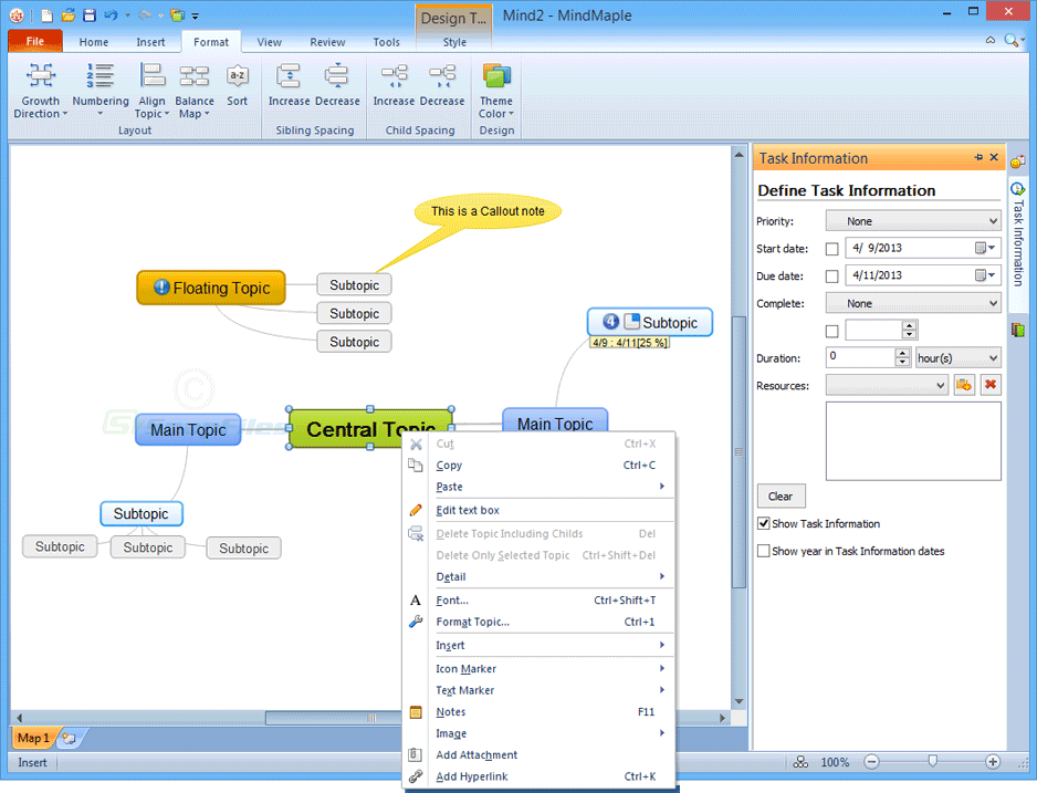 screenshot of MindMaple Lite