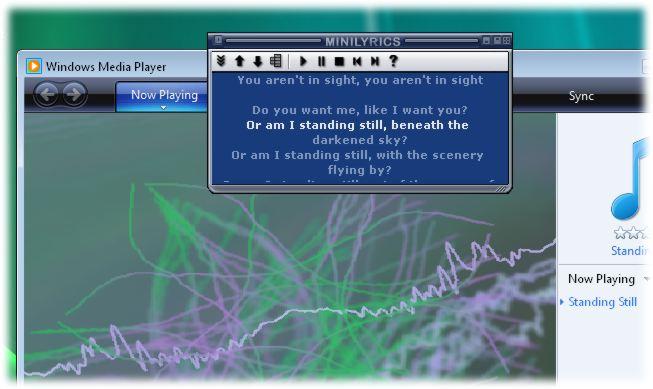 screen capture of MiniLyrics