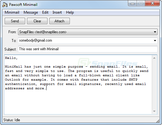screen capture of MiniMail