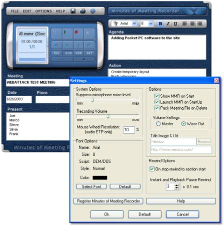 screen capture of Minutes of Meeting Recorder