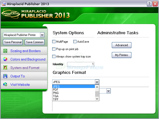 screenshot of Miraplacid Publisher