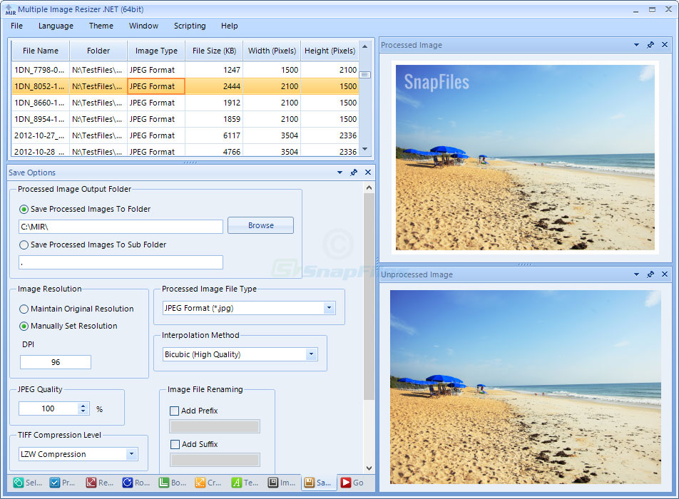 screenshot of Multiple Image Resizer .NET
