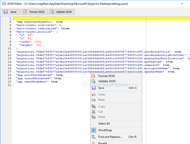 screenshot of MiTeC JSON Viewer