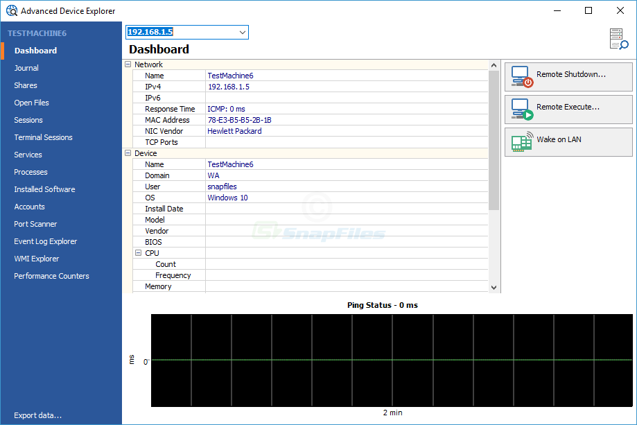 screenshot of MiTec Network Scanner