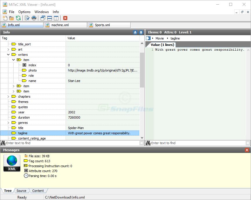 screen capture of MiTeC XML Viewer