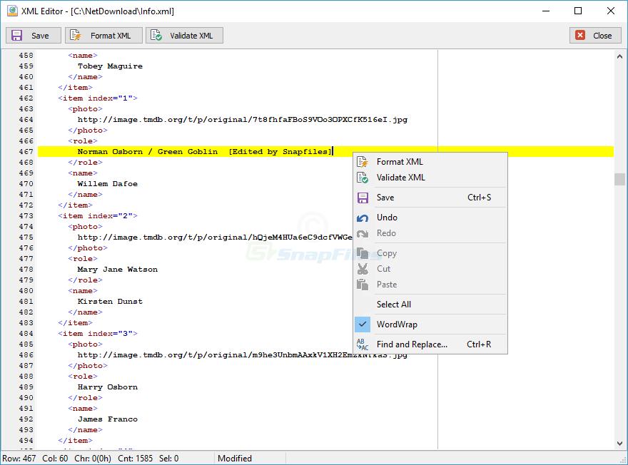 screenshot of MiTeC XML Viewer