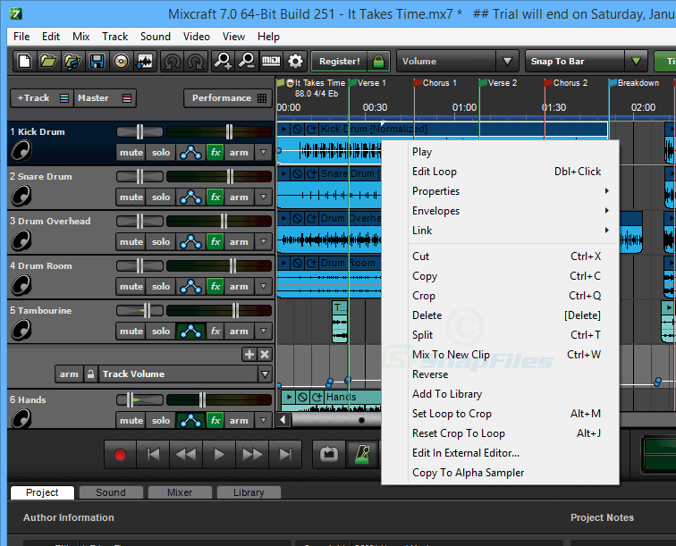 screenshot of Mixcraft