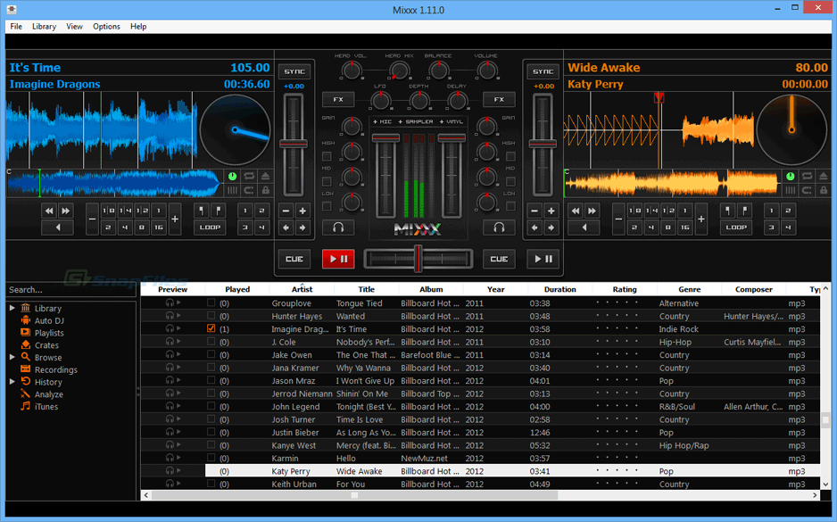 screen capture of Mixxx