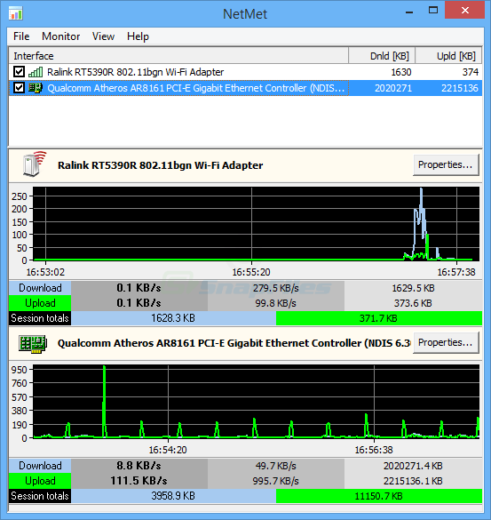 screen capture of MiTeC Network Meter