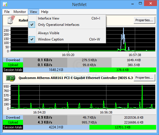 screenshot of MiTeC Network Meter