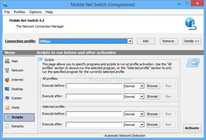 screenshot of Mobile Net Switch
