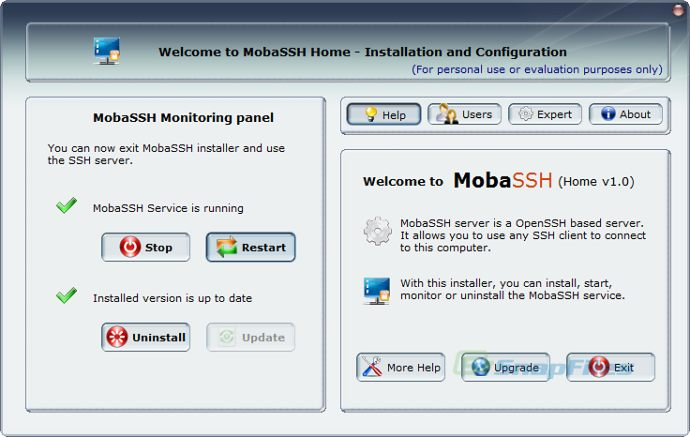 screen capture of MobaSSH