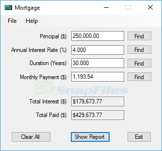 screen capture of Mortgage