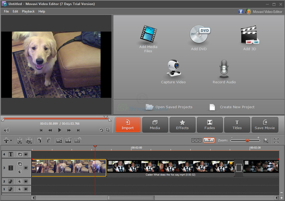 screen capture of Movavi Video Editor