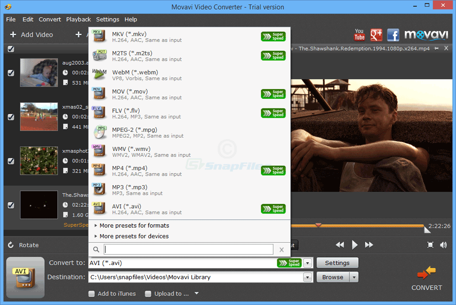 screenshot of Movavi Video Converter