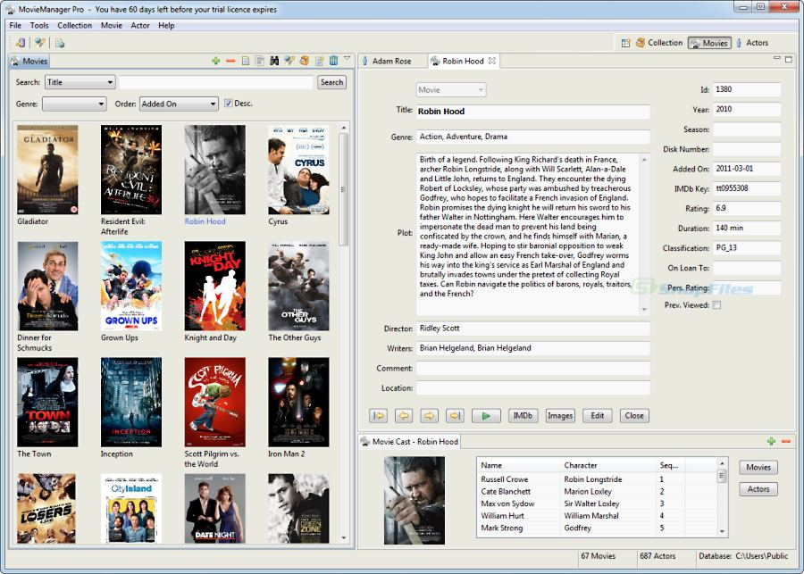 screen capture of MovieManager Pro