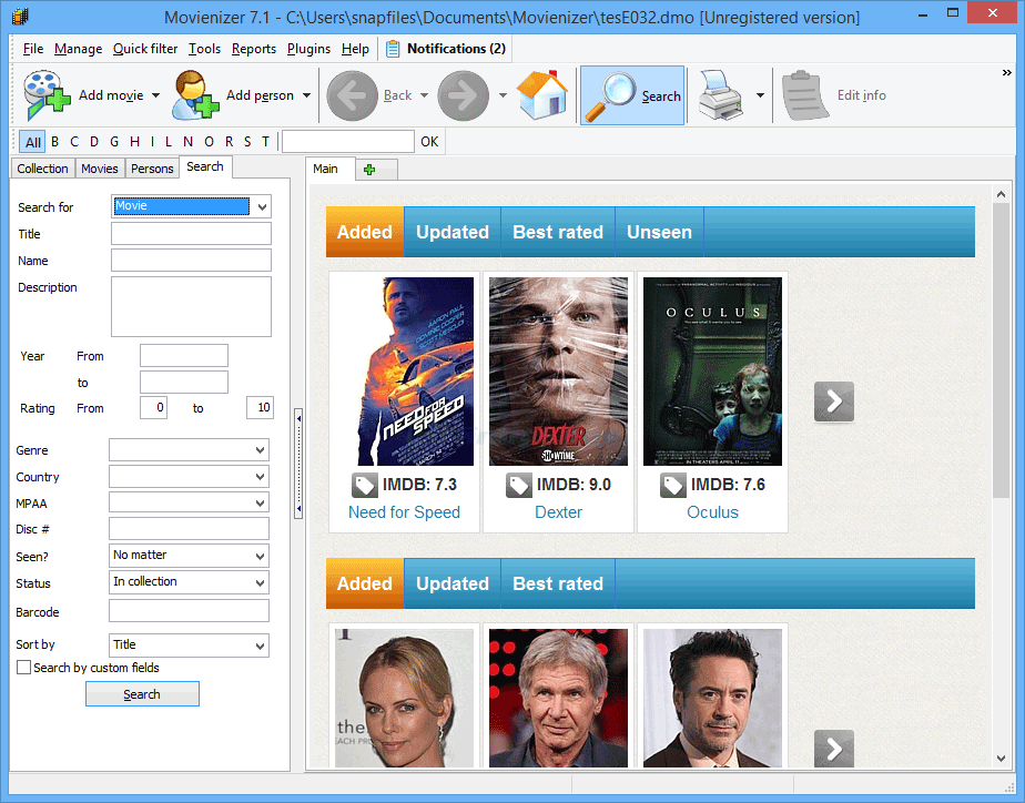 screenshot of Movienizer