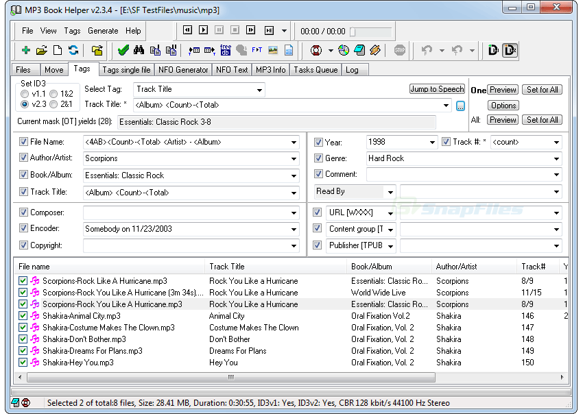 screenshot of MP3BookHelper