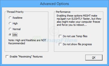 screenshot of MP3Gain
