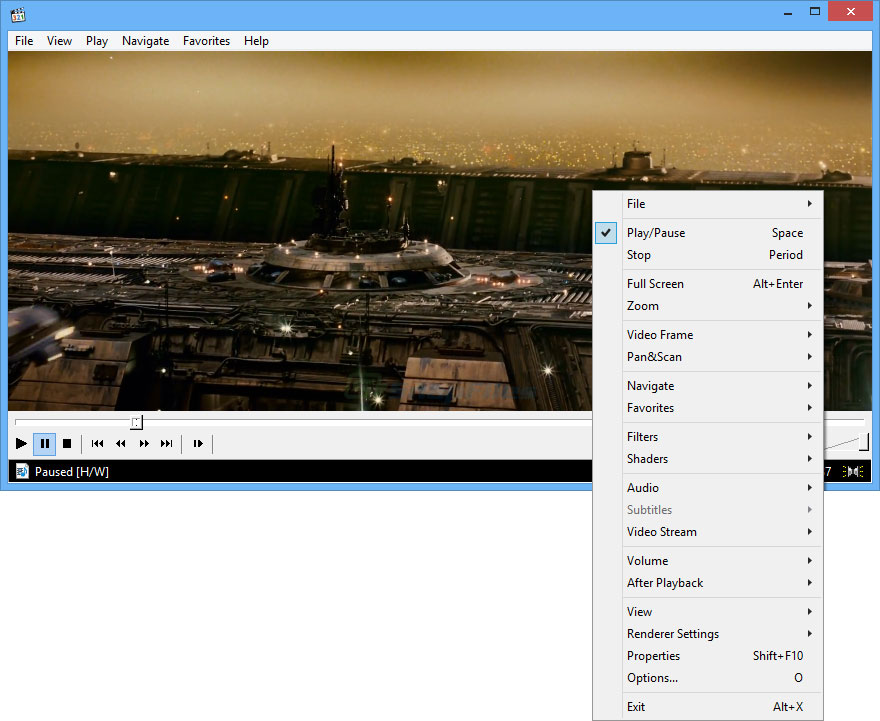 screen capture of Media Player Classic Home Cinema