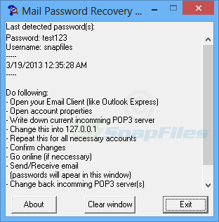 screen capture of Mail Password Recovery
