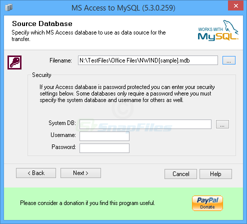 screen capture of BullZip MS Access to MySQL