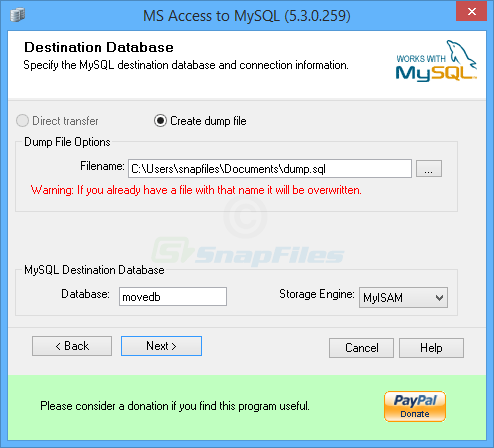 screenshot of BullZip MS Access to MySQL