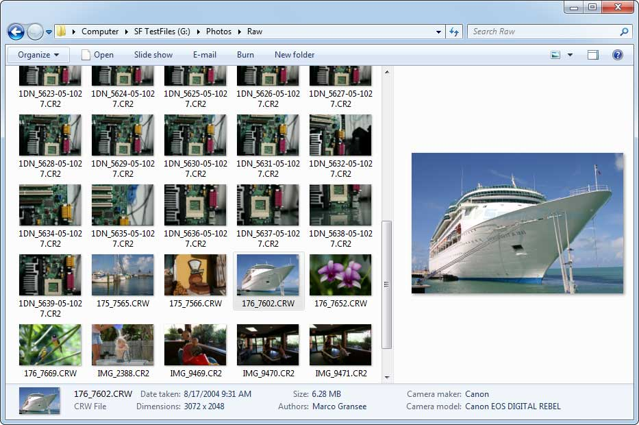screenshot of Microsoft Camera Codec Pack