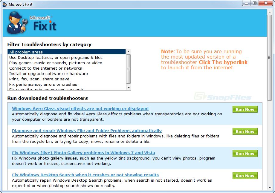 screen capture of Microsoft Fix It Portable