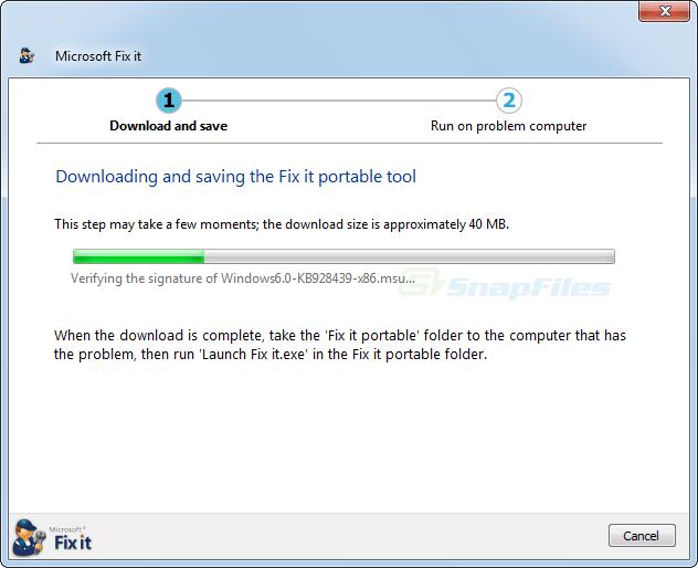 screenshot of Microsoft Fix It Portable