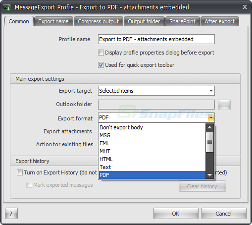 screenshot of MessageExport for Outlook