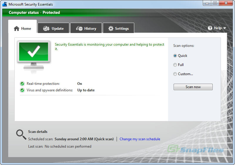 screen capture of Microsoft Security Essentials