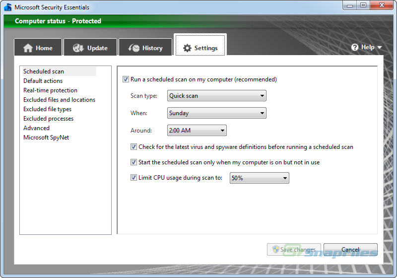 screenshot of Microsoft Security Essentials