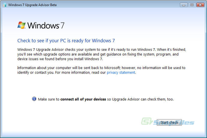screen capture of Windows 7 Upgrade Advisor