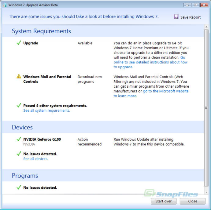 screenshot of Windows 7 Upgrade Advisor