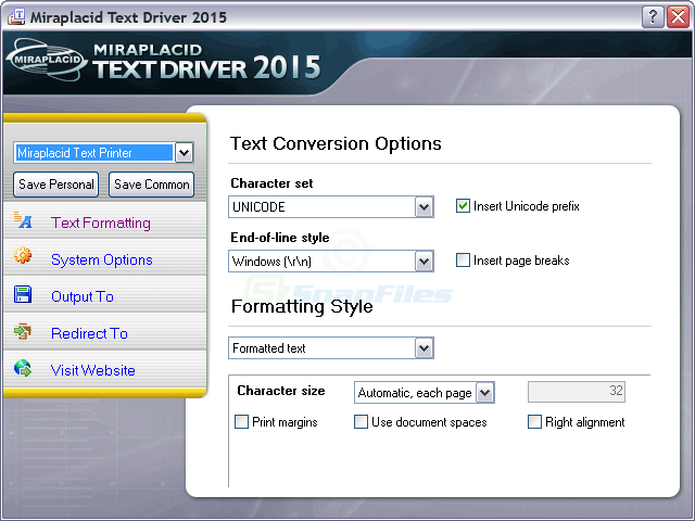screen capture of Miraplacid Text Driver
