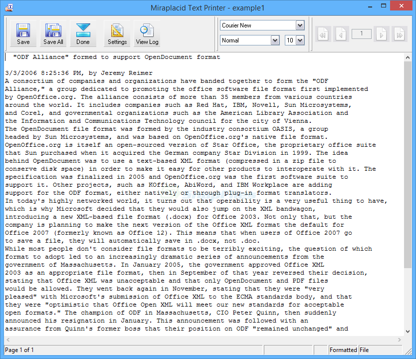 screenshot of Miraplacid Text Driver
