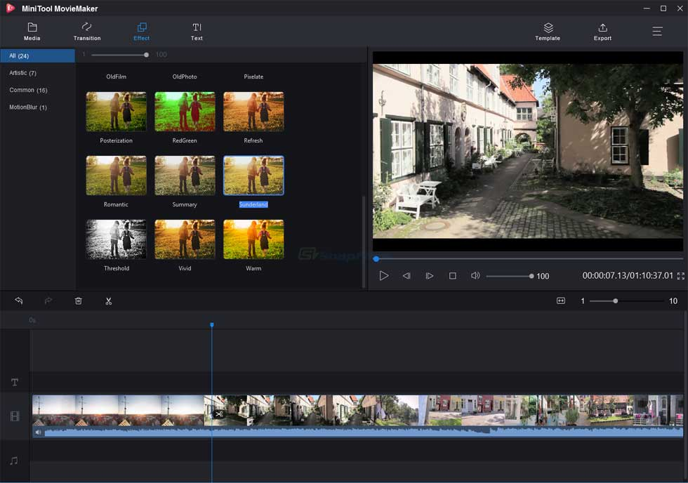 screen capture of MiniTool MovieMaker