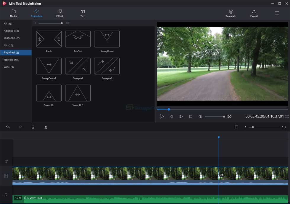 screenshot of MiniTool MovieMaker