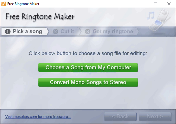 screen capture of MuseTips Free MP3 Ringtone Maker