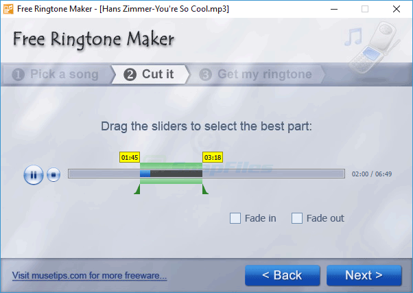 screenshot of MuseTips Free MP3 Ringtone Maker