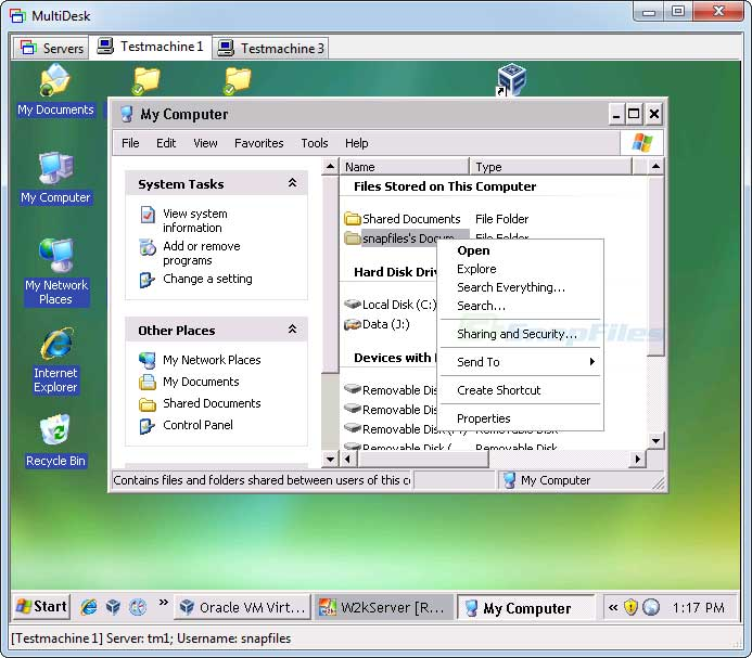 screen capture of MultiDesk