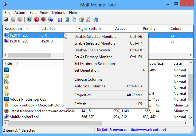 screen capture of MultiMonitorTool