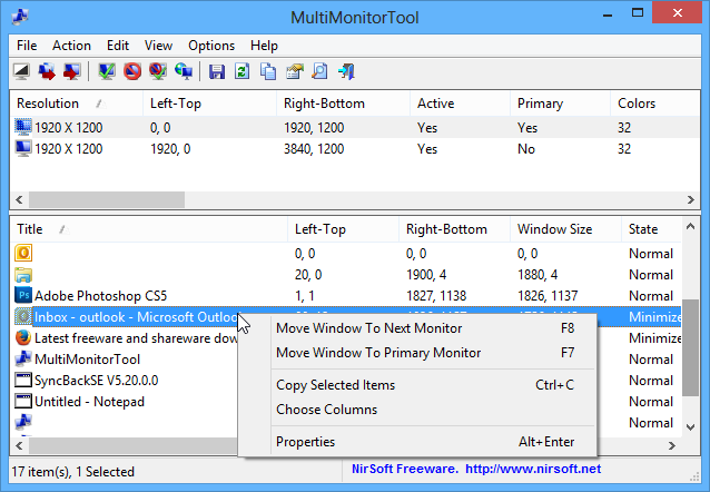 screenshot of MultiMonitorTool